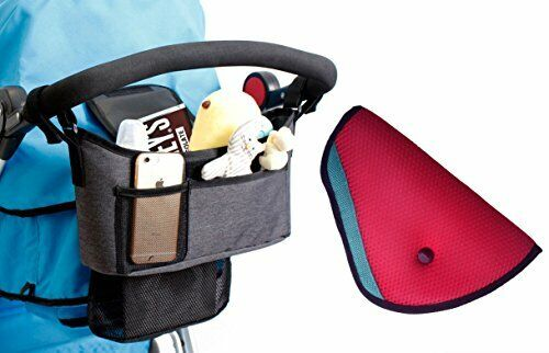 Stroller Organizer - Universal fit with Adjustable Straps with Free Car Seatbelt
