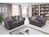 BRAND NEW VERONA/BARON 3+2 OR CORNER GRAPITE FABRIC LINEN SCATTER BACK SOFA NOW ON SALE !