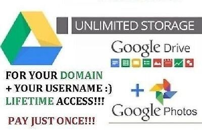 Unlimited Cloud Storage Google Drive For Life  Customised Usernames Just One Off