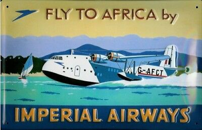 Imperial Airways Fly To Africa Flying Boat embossed steel sign  300mm x 200mm