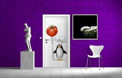 Türtapete Türposter 93x205cm - Pinguin Koch Küche Gabel Tomate lustig Kochmütze