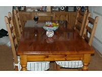 Solid pine wood dining room table