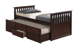 NEW YEAR SALE ON NOW SOLID WOOD TRUNDLE BED ONLY $399 LOWEST PRICES GUARANTEED