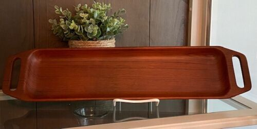 "20"" Vintage long wooden tray mid century modern Danmark Denmark LD10"