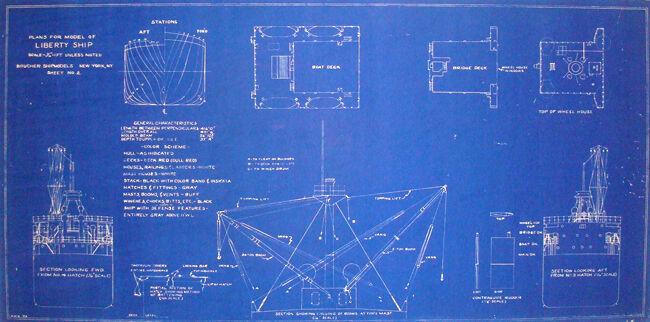 WW2 Liberty Ship Blueprint Plans 1941 2 sheets 15
