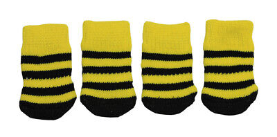 Cute Bumblebee Color Anti-Slip Dog Socks Size S Clean Comfy Paws Pets Puppy 4pcs