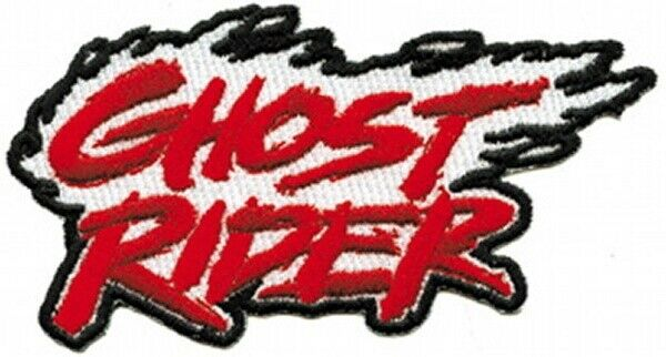 Marvel Comics Ghost Rider Flaming Logo Name Embroidered Patch, NEW UNUSED