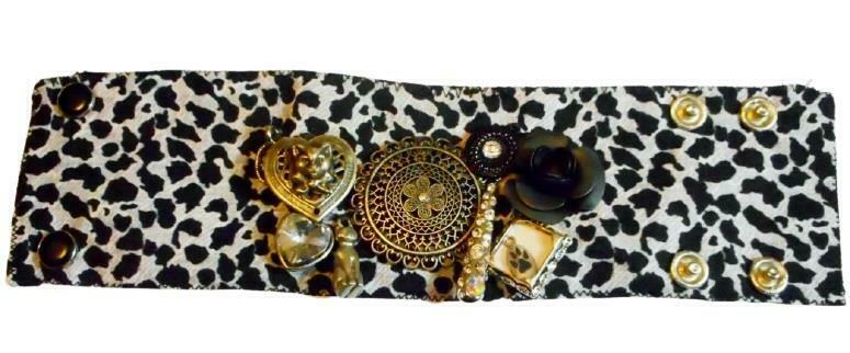 Cuff Cat Theme Designer Bracelet w Kitty Charms Fabric Handcrafted Artisan Bling