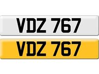 *VDZ 767* Dateless Personalised Cherished Number Plate Audi BMW M3 Ford VW Caddy Mercedes Vauxhall