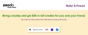 Koodo Bill Credit (Refer a Friend) $50