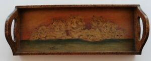 "LOUIS WAIN (1860-1939) 17"" x 6 3/4"" wooden pokerwork tray CATS!"