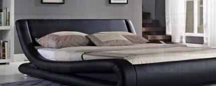 Brand New Curved Pu Leather Queen  bed Italian Design