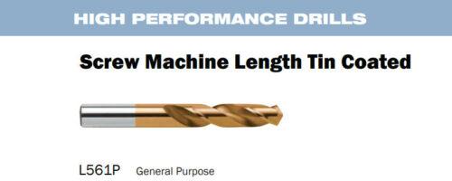 "Nachi 561P Screw Mach. Length HSS TIN 3/8"" Parallel Shank Twist Drill 1265698"