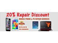 20% Repair Discount ,Mobile Phone , iPhone ,Samsung & Unlocking Mobile phones, Computer &Tablets