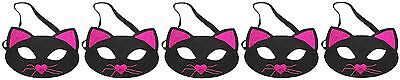 Zest 5 Sparkly Cat Masks Halloween Party Black & Hot Pink