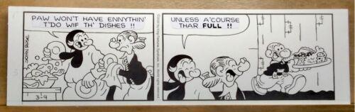Original Snuffy Smith Daily Comic Strip Art - Full Plate
