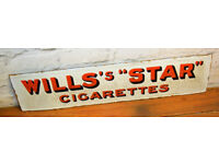 Wills' star woodbine cigarettes enamel sign early mancave garage metal old vintage antique decor