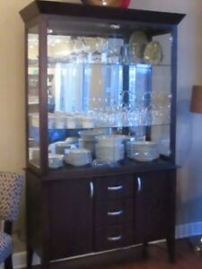Beautiful glass all wood hutch for sale