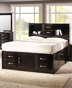 Queen Fresco large drawer bed with bookcase headboard, NEW