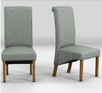 BN NEXT HARLOW HIGH BACK DINING ROOM DARK GREY BOUCLE FABRIC CHAIRS X2 BD11