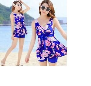 Stylish blue and pink floral swimsuit