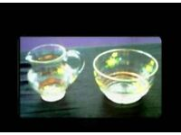 VINTAGE GLASS MILK JUG & SUGAR BOWL - FOR SALE