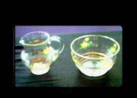 VINTAGE GLASS MILK JUG & SUGAR BOWL - FOR SALE