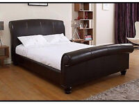 Double black leather bed (no matress)