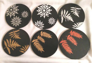 """Leaves and snowflakes Silver on Black Trivet """"Hot Pot"""" Table pro"""