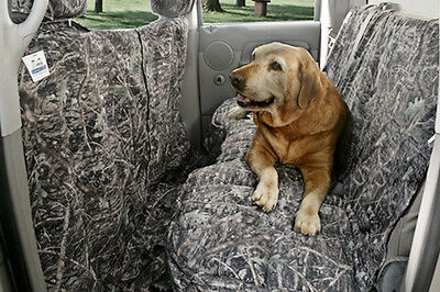 The Canine Covers Custom Rear Seat Protector As Shown In Camouflage Wooded Forest Pattern