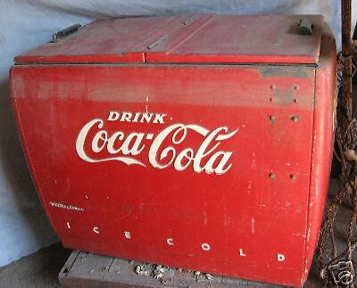 ORIGINAL VINTAGE 2 DOOR FLIP TOP COCA-COLA COKE COOLER Westinghouse Y-6511
