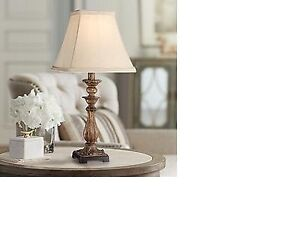 Large Lamp gold base with white shade