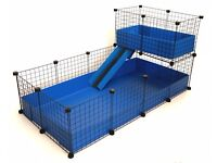Blue 5.8 x 2.3 foot C&C [cube and correx/coroplast] cage with loft / shelf for guinea pigs
