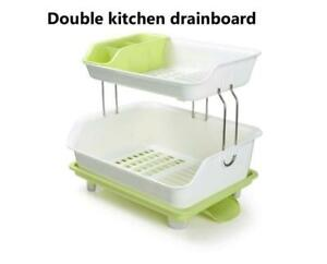 2 Tier Dryer Kitchen Dish Drying Rack Holder Home Sink Drainer(item#020022)