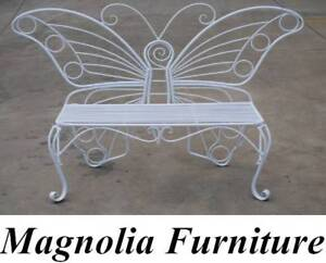 OUTDOOR GARDEN STEEL BENCH LOVE 2-SEATER BUTTERFLY WHITE Guildford Parramatta Area Preview