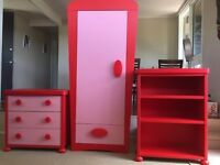 Red/Pink Mammut ikea bedroom set. Wardrobe, 2x chest of drawers and bookshelf. Great condition