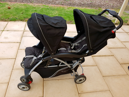 BabyLove Tandem Lite double pram & free Childcare Twin Rover pram