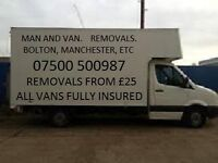 MANCHESTER VAN HIRE, MAN AND VAN SERVICES, HOME/FLAT/OFFICES ETC SHORT NOTICE WELCOME.