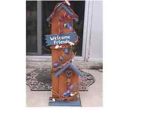 Tall Wood Welcome Standing Sign