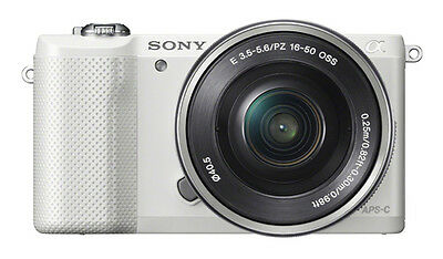 Sony Alpha A5000 White Mirrorless Digital Camera with 16-50mm Lens Kit