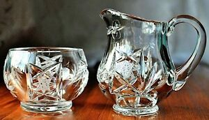 Vintage Bohemian Pinwheel 24% Lead Crystal Cream and Sugar Set