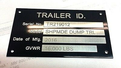Engraved Trailer Equipment Plate Tag Serial Model Id High Quality Black Chrome