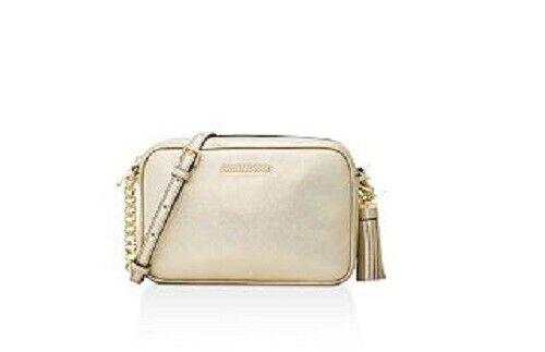 Michael Kors Ginny Medium Leather Crossbody Gold Bag