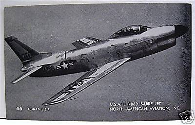 USAF F 86D Sabre Jet Airplane Old Stock Vending Card 46 for sale  Belleville