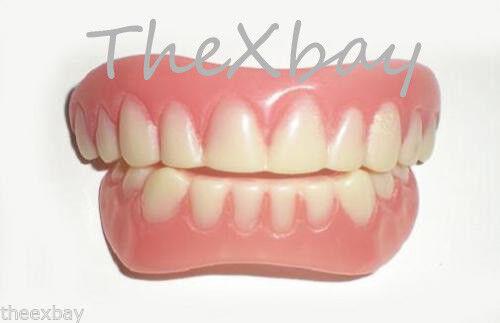 SECURE INSTANT SMILE False Fake Cosmetic Teeth Veneer UPPER & LOWER SET