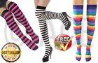 Cotton Striped Women's Thigh High Socks