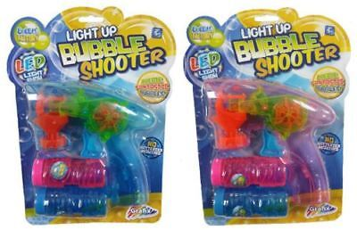 1 LED Light Up Bubble Shooter Gun Toy Free Solution Set Kids Childrens Gift Game