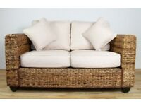 PRICE DROP! £300 ONO Kingston abaca rattan conservatory suite 3 seater+2seater plus coffee table