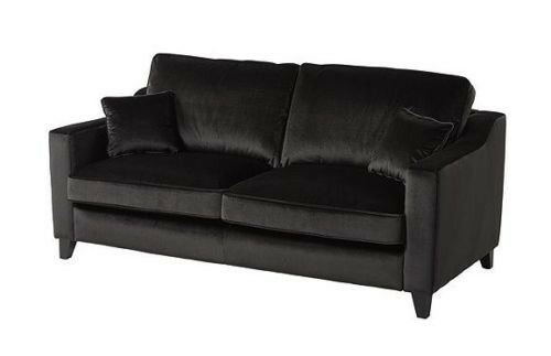 Tate Velvet Large 3 Seater Sofa Charcoal Fabric New