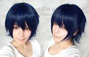Short Blue Black Wig